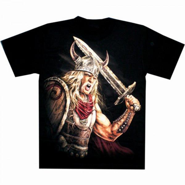 T-Shirt Erwachsene - Wikinger mit Schwert und Schild - Glow