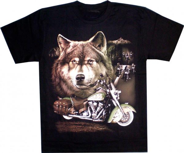 T-Shirt Erwachsene - Wolfskopf, Motorrad und biker auf der Straße - Glow