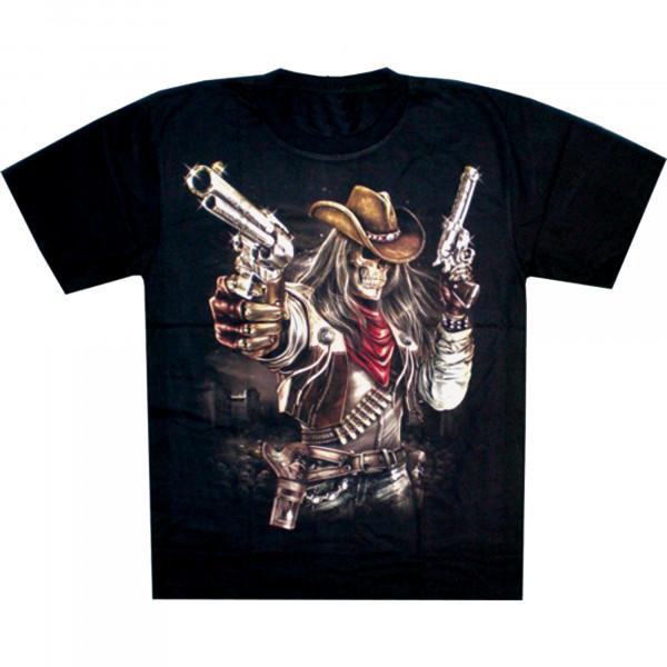T-Shirt Erwachsene - Western Totenkopf mit zwei Pistolen