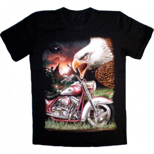 T-Shirt Erwachsene - Adlerkopf und rotes Custombike