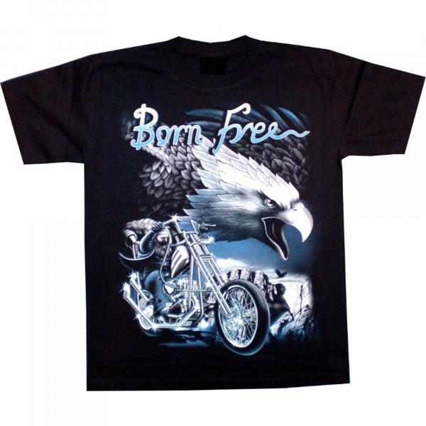 T-Shirt Erwachsene - Adler mit Motorrad und Biker Born free blau - Glow
