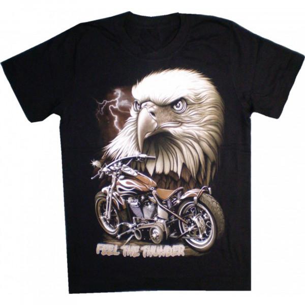 """T-Shirt Erwachsene - Adler mit Motorrad """"Feel the Thunder"""""""