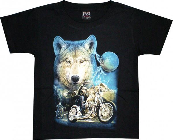T-Shirt Kids - Wolf Blau mit Bikern