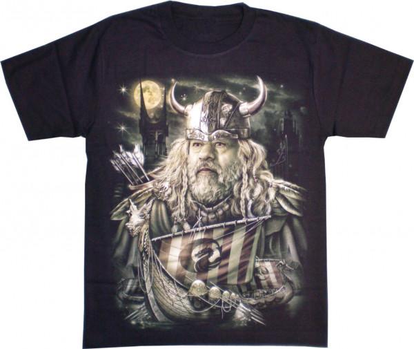 T-Shirt Erwachsene - Wikinger mit Schiff Glow