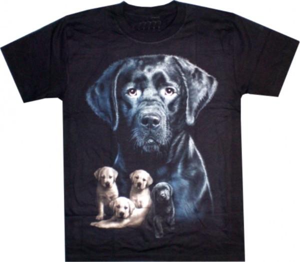 T-Shirt Erwachsene - schwarzer Labrador mit Welpen - Glow